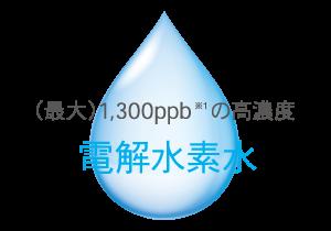 (最大)1,300ppb(※1)の高濃度電解水素水